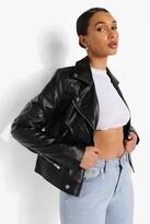 boohoo Mya Vegan Leather Biker Jacket With Quilt Detail black