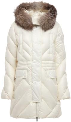 Moncler Dinard Nylon Laque Down Coat W/ Fur