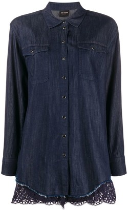 Twin-Set Scallop-Trimmed Denim Shirt