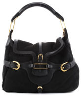 Jimmy Choo Black Shearling Leather Trim Tulita Satchel Handbag