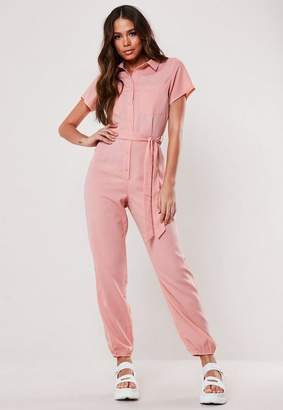 Missguided Pink Belted Romper