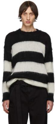Isabel Benenato Black and White Open Stripe Sweater