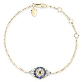 Meira T Diamond, Sapphire and 14K Yellow Gold Evil Eye Bracelet