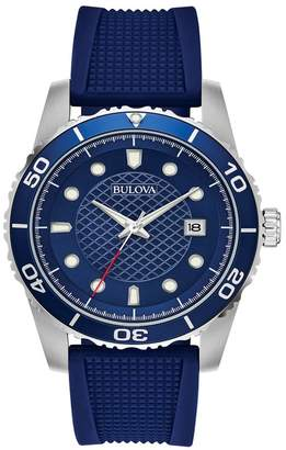 Bulova Men's Chronograph Quartz Analog Silicone Strap Watch, 43mm