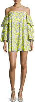 Caroline Constas Carmen Tiered Ruffle Sleeve Mini Dress, Yellow Pattern