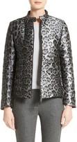 Armani Collezioni Women's Leopard Print Down Puffer Jacket
