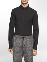 Calvin Klein Platinum Skinny Fit Stretch Poplin Mesh Trim Long-Sleeve Shirt