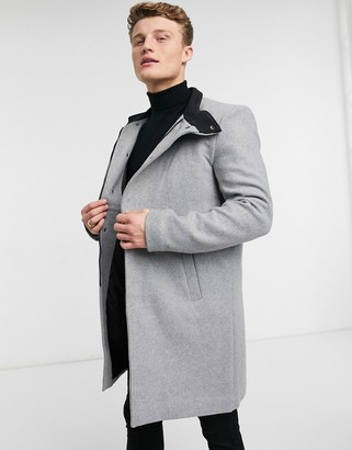 ONLY & SONS overcoat with funnel neck in gray