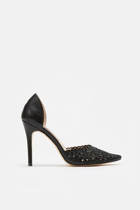 Coast Laser Cut Embroidered Pointed Heel