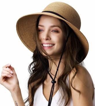 Furtalk Womens Wide Brim Sun Hat with Wind Lanyard UPF Summer Straw Sun Hats for Women - - L