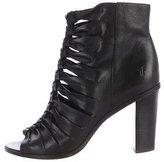 Frye Sofia Braided Leather Peep-Toe Boots