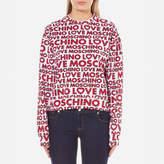 Love Moschino Women's Multi Logo Sweatshirt Macrologo/White