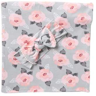 A D SUTTON & SONS Floral Print Swaddle & Headband Set (Baby Girls)