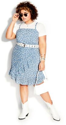 City Chic Floating Daisy Dress - powder blue
