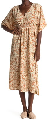 ALL IN FAVOR Leaf Print Kaftan Maxi Dress
