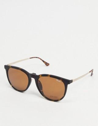 Quay Great Escape clip on women's round sunglasses in tort