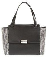 Salvatore Ferragamo 'Medium Bitter' Genuine Snakeskin & Leather Shoulder Tote - Black