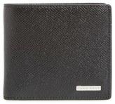BOSS Men's 'Signature' Calfskin Leather Bifold Wallet - Black