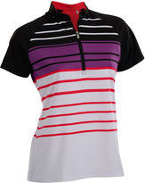 Asstd National Brand Point Short Sleeve Short Sleeve Stripe Knit Polo Shirt