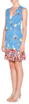 Emilio Pucci Floral Sleeveless Surplice-Neck Dress, Blu Nilo
