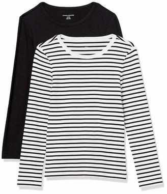 Amazon Essentials Women's Standard 2-Pack Slim-Fit Long-Sleeve Crewneck T-Shirt
