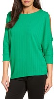 Chaus Women's Ribbed Knit Cold Shoulder Top