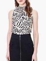 Oasis Tiger Print Shell Top, Black/White