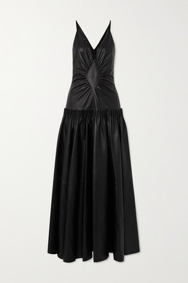 Loewe Tiered Gathered Leather Maxi Dress - Black