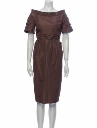 Burberry Silk Knee-Length Dress Brown