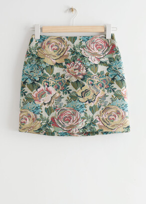 And other stories Floral Jacquard Mini Skirt
