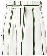 3.1 Phillip Lim stripe pleated mini skirt - women - Cotton/Linen/Flax - 4