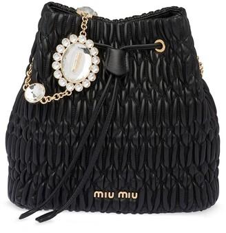 Miu Miu Crystal Nappa Leather Bucket Bag