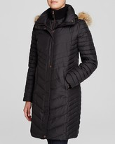 Andrew Marc Kendall Fur Trim Chevron Puffer Coat