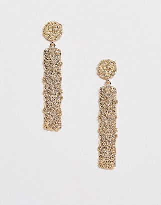 Asos DESIGN earrings with stud and bar drop in gold tone