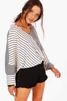 boohoo Keira Stripe Spliced Oversized Shirt multi
