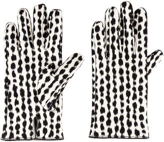 Raf Simons Animal Fabric Gloves in White & Black   FWRD