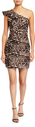 Parker Black Jojo Leopard-Print One-Shoulder Mini Dress
