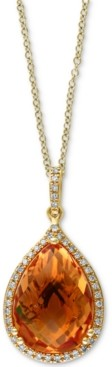 "Effy Citrine (5-3/4 ct. t.w.) & Diamond (1/8 ct. t.w.) Diamond Teardrop 18"" Pendant Necklace in 14k Gold"