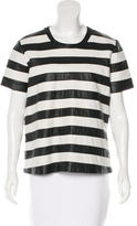 Theory Leather Striped Top