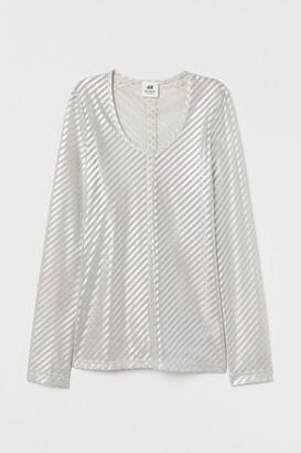 H&M Shimmery Metallic Mesh Top