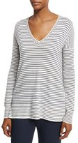 Loro Piana Riomaggiore Striped V-Neck Sweater, Spring Blue/White