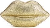 Lulu Guinness Women's Perspex Lips Clutch Bag Gold Glitter
