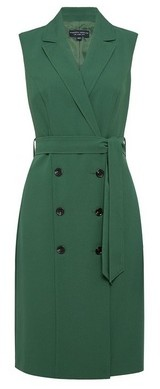 Dorothy Perkins Womens Green Sleeveless Trench Dress, Green