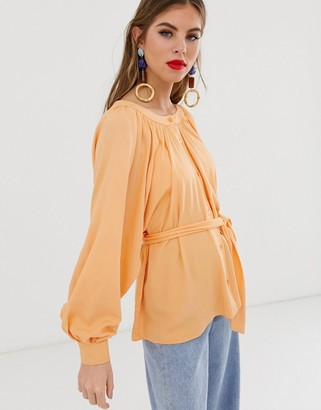 Asos Design DESIGN button through top with scoop neck and batwing sleeve-Black