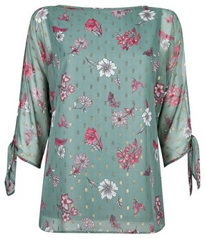 Dorothy Perkins Womens **Billie & Blossom Tall Sage Floral Print Tie Sleeve Blouse