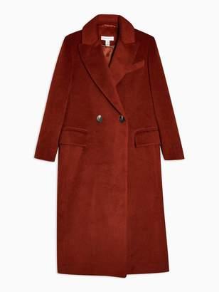 Topshop Longline Lepel Coat - Burgundy