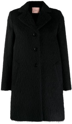 Twin-Set Textured Single-Breasted Coat