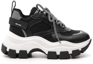 Prada Velcro Strap Detail Panelled Sneakers