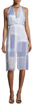 Halston Sleeveless V-Neck Printed Dress, Iris Color