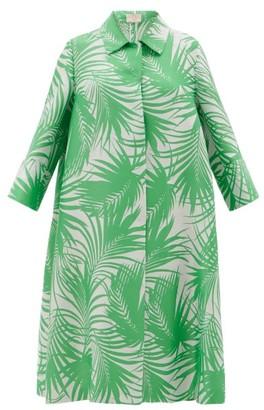Sara Battaglia Palm Leaf-jacquard Cocoon Coat - Womens - Green White